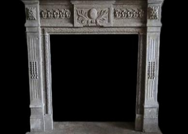 Decorative Limestone Fireplace